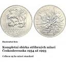Sestava stříbrných pamětních mincí Československa - Standard 1954 až 1993