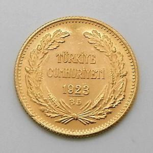 Zlatá mince Turecko 100 Piastr/Kurush 1923/1958