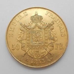 Zlatá mince Francie 50 Frank 1855 A