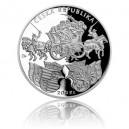 Stříbrná mince Klaudyánova mapa Čech - Proof