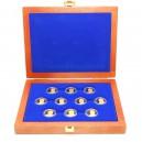 Luxusní sada deseti zlatých medailí Prezidenti republiky