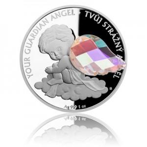 2018 - Stříbrná mince 2 NZD Crystal Coin - Anděl strážný