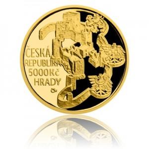 Hrad Rabí - zlatá mince z cyklu Hrady České republiky - špičková kvalita - Proof