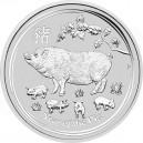 Stříbrná investiční mince Year of the Pig, Rok Prasete 2019 Standard - 1 Oz