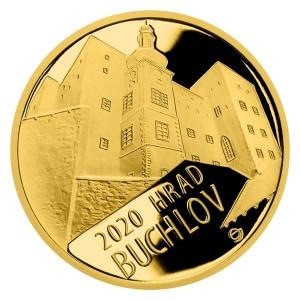 Hrad Buchlov - zlatá mince z cyklu Hrady České republiky, špičková kvalita - Proof