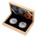 2021 - Sada dvou stříbrných investičních mincí 2 NZD Český lev a Orel - Standard
