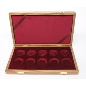 Dřevěná etue na 10 ks zlatých mincí Deset století architektury