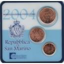 Sada oběžných mincí San Marino 2004 (1, 2, 5 Cent)