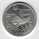 Stříbrná pamětní mince LOH Montreal 1976 - Běh přes překážky, b.k. - rok 1975