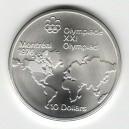 Stříbrná pamětní mince LOH Montreal 1976 - Mapa Severní Ameriky, b.k. - rok 1973