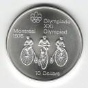 Stříbrná pamětní mince LOH Montreal 1976 - Cyklistika, b.k. - rok 1974