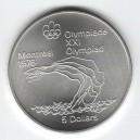 Stříbrná pamětní mince LOH Montreal 1976 - Skoky do vody, b.k. - rok 1975
