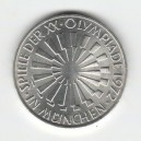 Stříbrná pamětní mince LOH Mnichov-Zářivá spirála, b.k., rok 1972