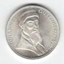 Stříbrná pamětní mince Johannes Gutenberg, b.k., rok 1968