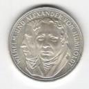 Stříbrná pamětní mince Wilhelm a Alexander von Humboldt, b.k., rok 1967