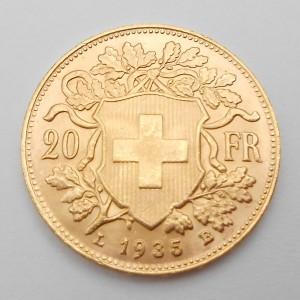 Zlatá mince Švýcarsko 20 Frank 1935 LB