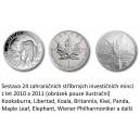 Sada 24 ks stříbrných investičních mincí - roky 2010 a 2011